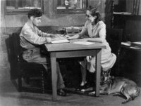Avon Old Farms Convalescent Hospital -- Helen Barshay teaching braille to soldier