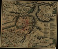 New Map of Boston, Giving All Points of Interest; With Every Railway & Steamboat Terminus, Prominent Hotels Theatres & Public Buildings