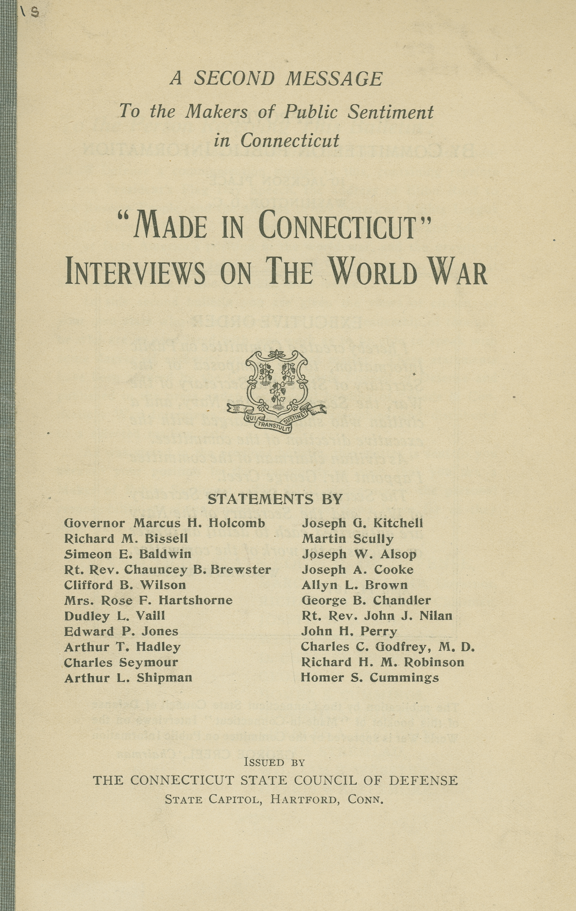 """""""Made in Connecticut"""" interviews on the World War"""