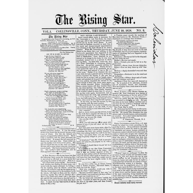 Rising star (Collinsville, Conn.), 1858
