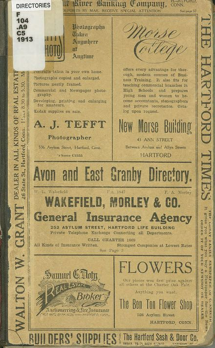 Directory for the towns of Avon and East Granby, 1913