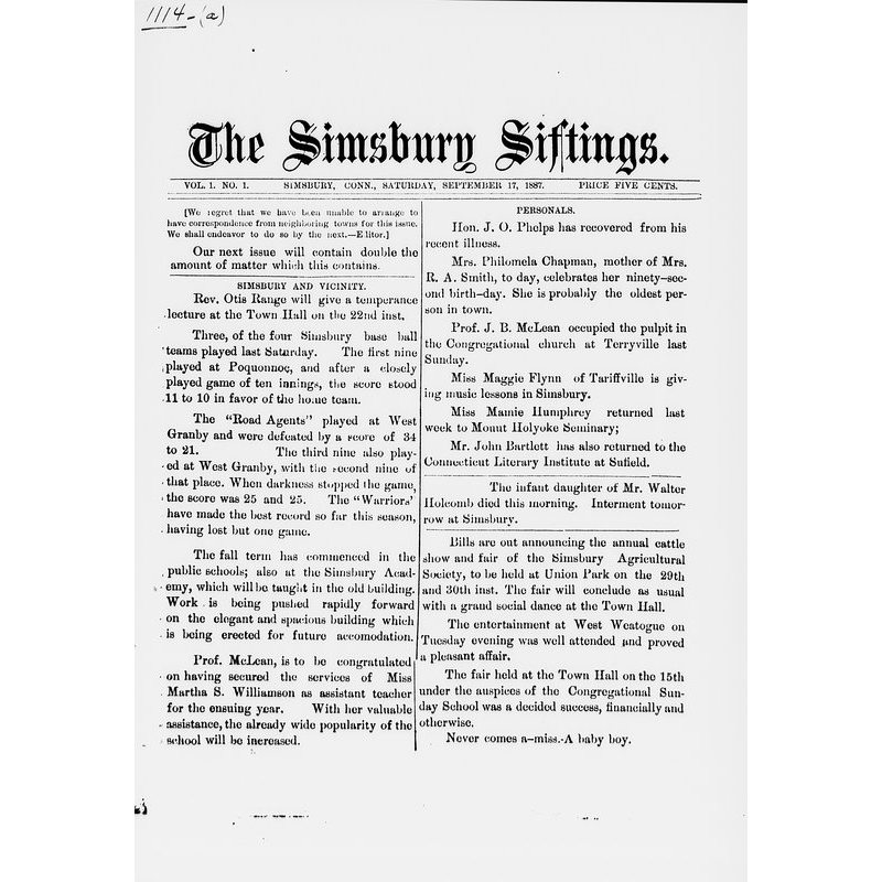 Simsbury siftings, 1887