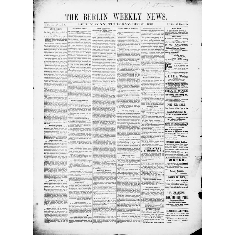 Berlin weekly news, 1891-1892