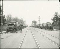 Army trucks on Farmington Avenue