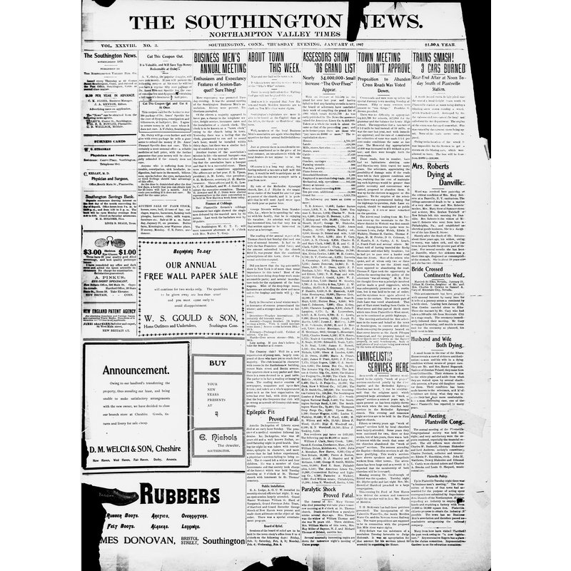 Southington news, Northampton Valley times, 1907
