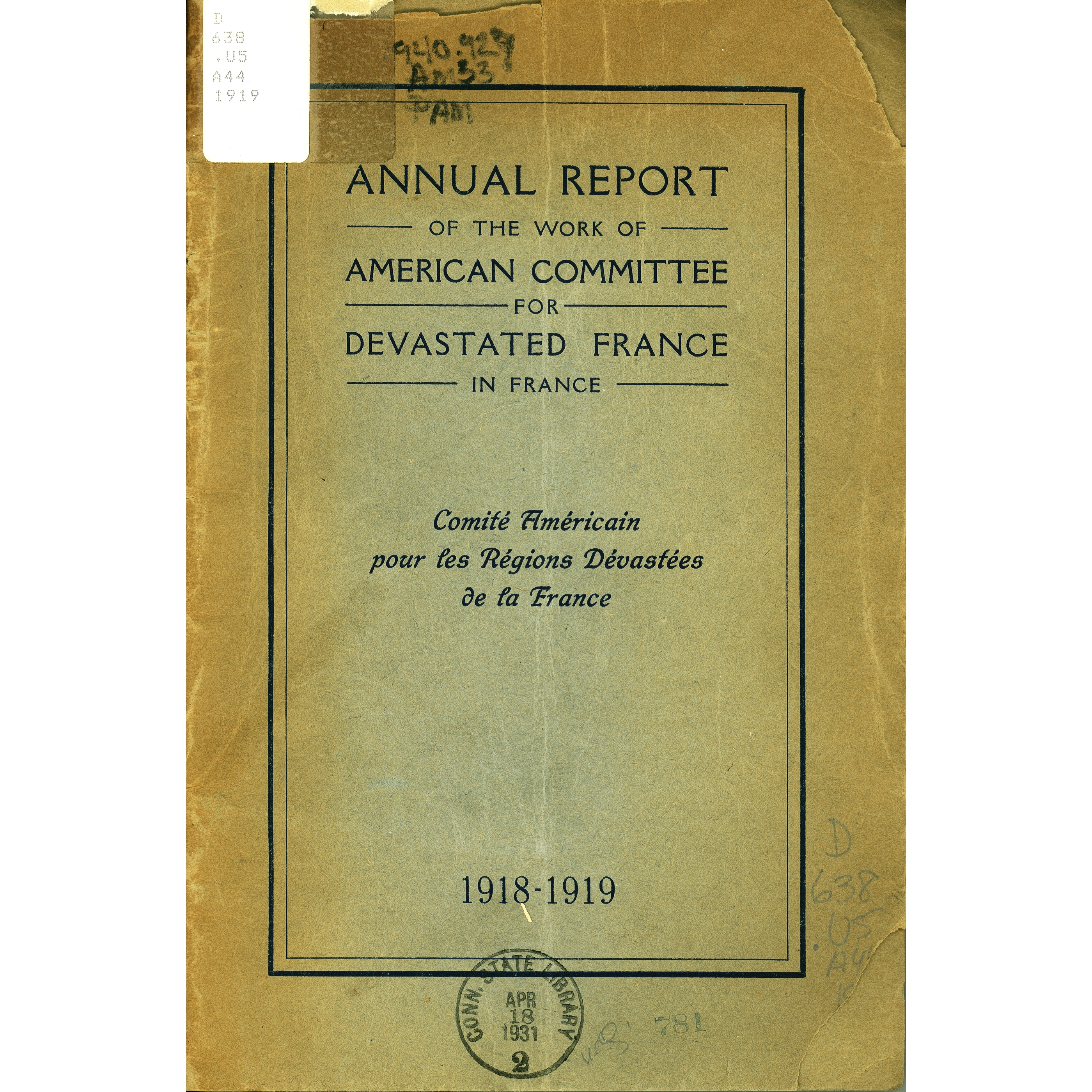 Annual report of the American Committee for Devastated France in France, 1918-1919