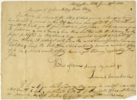 Samuel Trumbull letter to Goshen Meeting House Lottery Managers