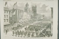 Parade at the inauguration of Governor Ingersoll, Main Street, Hartford