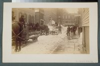 Blizzard of 1888: snow removal on Church Street, Hartford