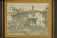 Woman and children in front of George D. Fairchild house, Riverton