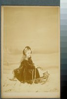Ada Louise Taylor on a sled, Hartford