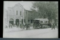 First electric trolley car, Hartford