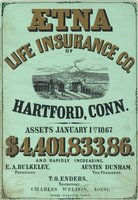 Aetna Life Insurance Co. of Hartford, Conn. assets January 1st, 1867, $4,401,833,86..