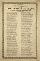 Address of the carriers of the Connecticut courant, to their patrons, January 1, 1839.Once more, as seasons roll away ..