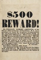 $500 reward! Mr. William Albert Greeene, sic of the firm of Allen & Greene,