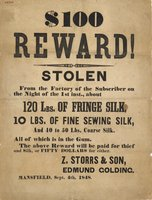 $100 reward! Stolen from the factory of the subscriber. Mansfield, Sept. 4th, 1848