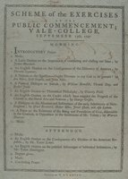 Scheme of the exercises at the public commencement ; Yale-college, September 13th, 1797