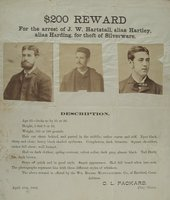 $200 reward for the arrest of J.W. Hartstall, alias Hartley, alias Harding,