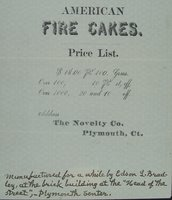 American fire cakes, price list ... : address The Novelty Co., Plymouth, Ct