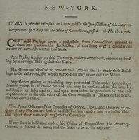 Act to prevent intrusions on lands within the jurisdiction of this state, under pretence of title from the state of Connecticut, passed 11th March, 1796