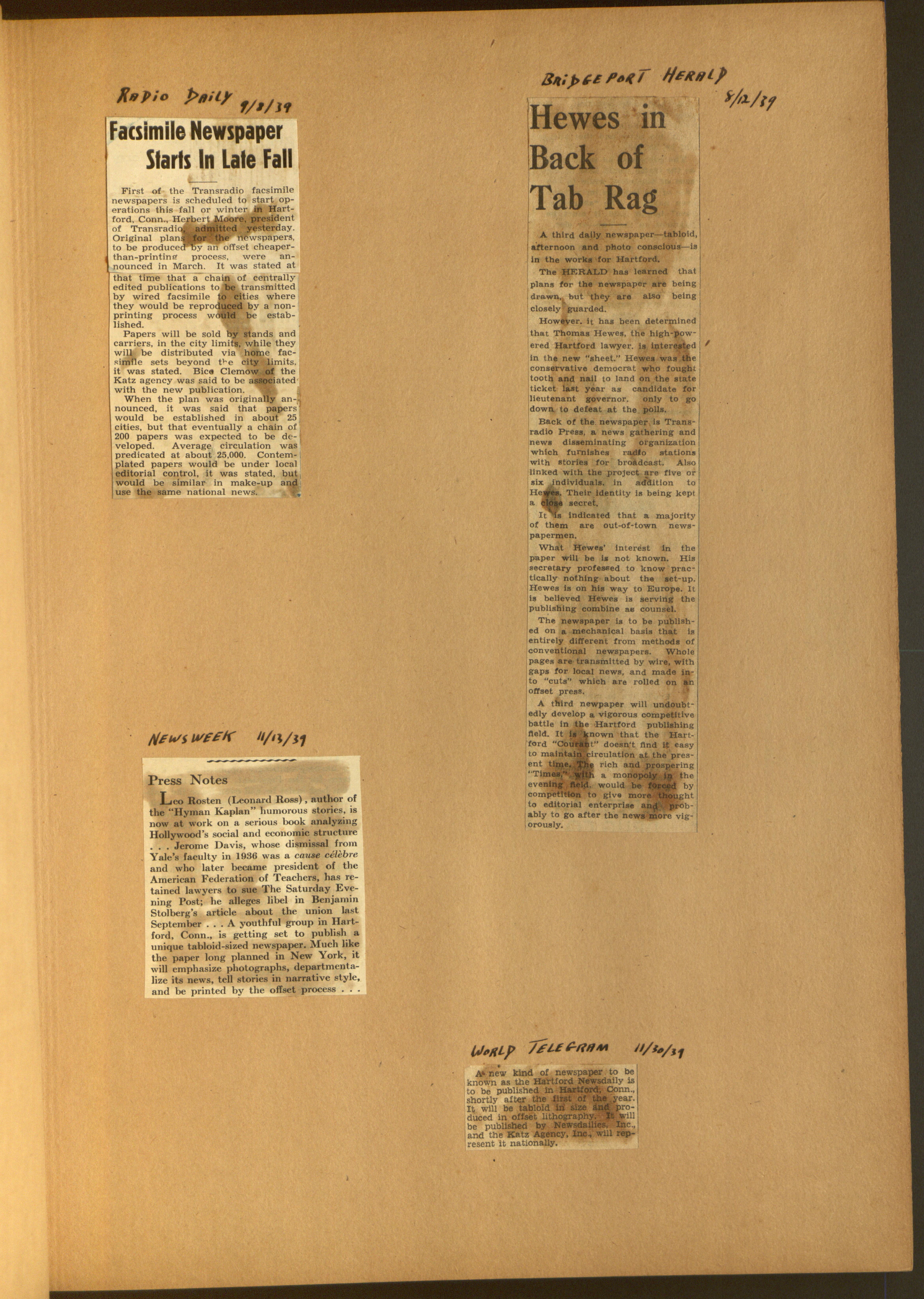 Hartford News Daily scrapbook, 1939-1940