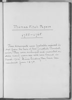 Governor Thomas Fitch Papers