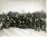 Children with sleds, Keney Park, Hartford, January 26, 1936