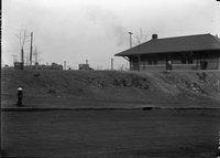 Brick building and railroad cars, Hartford, December 30, 1924