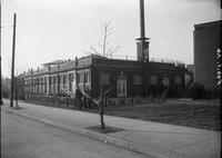Brick building, seesaws, Hartford