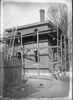 Brick building with scaffolding, Hartford