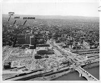 Aerial view, Connecticut highways I-84,  under construction, Hartford (Conn.), 1960