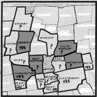 Map of greater Hartford area towns with status of participation in school busing indicated