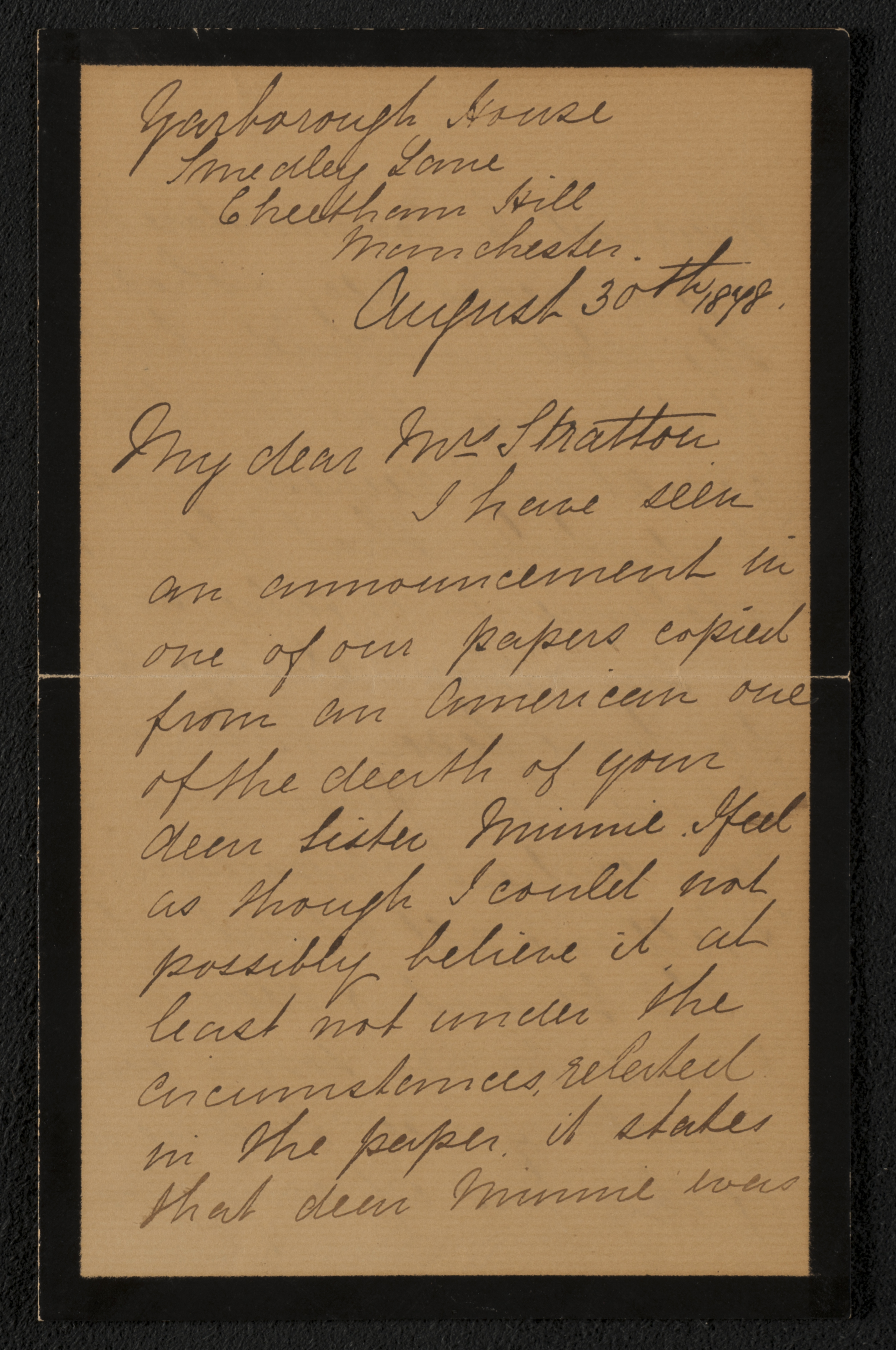 Letter: My dear Mrs. Stratton (M. Lavinia Warren) from E. Collier, August  30, 1878 (page 1) ...