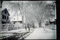 Winter scene, looking down Broadway from Willow Street, Mystic