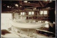 Alden cutter yacht Mollie under construction at the Post boatyard, Pistol Point (Mystic)