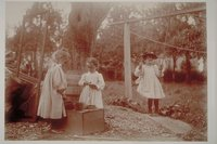 Ada Newbury of Mystic and two other girls playing