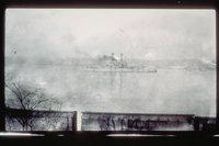 Battleship on a river