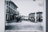 Hoxie House, Newbury Block and flagpole, East Main Street, Mystic
