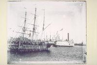 Auxiliary whaling bark George and Mary at New Bedford, Massachusetts wharf
