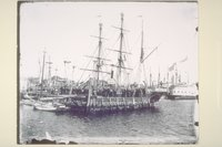 Auxiliary whaling bark George and Mary at wharf, New Bedford, Massachusetts