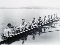 Yale University 1925 Olympic crew team in practice, Thames River, Waterford