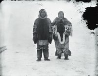 Aivilik Inuit couple (Paul and wife) in winter dress, Hudson Bay, Canadian Arctic