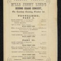 Program: Program for Jenny Lind's First and Second Grand Concerts at Tremont Temple, Boston