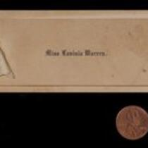 Calling card: Dual Calling Card for Miss Lavinia Warren and Charles S. Stratton