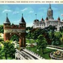 Bird's-eye view of Bushnell Park showing State Capitol and Memorial Arch, Hartford, Conn.