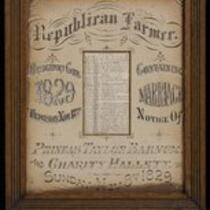 Document: Marriage notice of P.T. Barnum to Charity Hallett, 1829