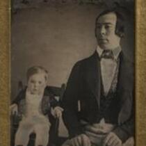 Daguerreotype: Charles S. Stratton (General Tom Thumb) and his father