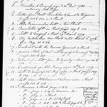 Silas Deane Papers: Business and Legal: List of papers left with Simeon Deane, Williamsburg, 1780 May 29