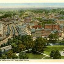 Bird's-eye view (looking north) from Capitol, Hartford, Conn.