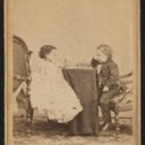Photograph: George Washington Morrison Nutt and Minnie Warren playing chess